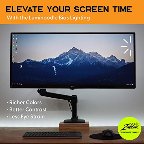 Luminoodle USB Bias Lighting - LED TV Backlight Strip - True White Ambient Home Theater Light, TV Accent Lighting to Reduce Eye Strain, Improve Contrast (Large)