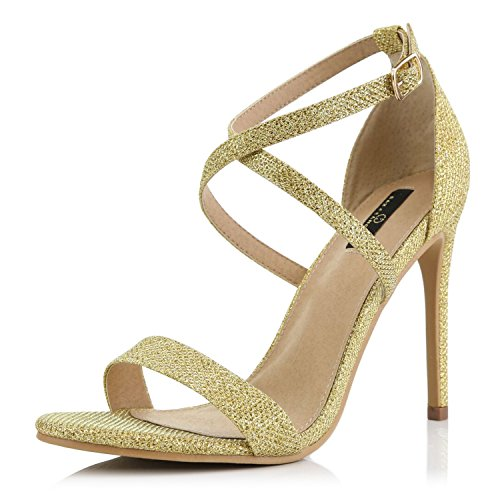 DailyShoes High Heel Sandal for Women Stilettos Criss Cross Strappy Open Toe Crossed Opened Mid Buckled Ankle Strap Shoes Heels Pump Gold,gl,12
