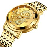 DAUERHAFT Reloj de Pulsera de Cuarzo Profesional Biden Dragon Trendy, Moderno, Regalo para Tus Amigos, Familiares o para ti Mismo.(Oro)