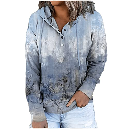 Womens Hooded Tops V Neck Long Sleeves Pullover Loose Casual Blouse Tie Dye Print Hoodies Fall Winter Outwear