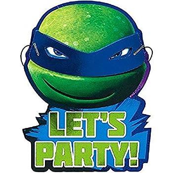 amscan Teenage Mutant Ninja Turtles Invitations | Pack of 8 | Party Supply Green 8  x 6