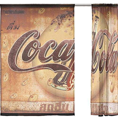 J.COXLOD Sheer Window Curtain Panels Individual Coke Vintage Sign Print for Kitchen, Bedroom and Living Room, 55x78, 2 Count