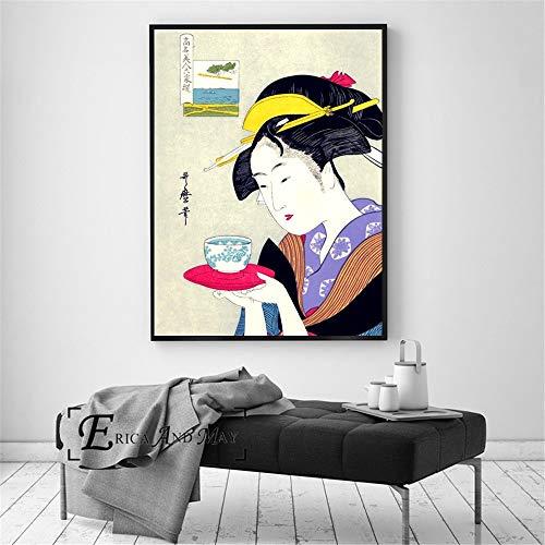 Geisha Giapponese retrò Poster Stampa Pittura a Olio Wall Art murale su Tela per la Decorazione del Soggiorno,Pittura Senza cornice-80X105cm