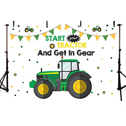 MEHOFOTO Tractor Birthday Party Backdrop Props Boy Happy 1st Birthday Start Tractor and Put It in Gear Photography Green Background Photo Banner for Cake Table Supplies 7x5ft