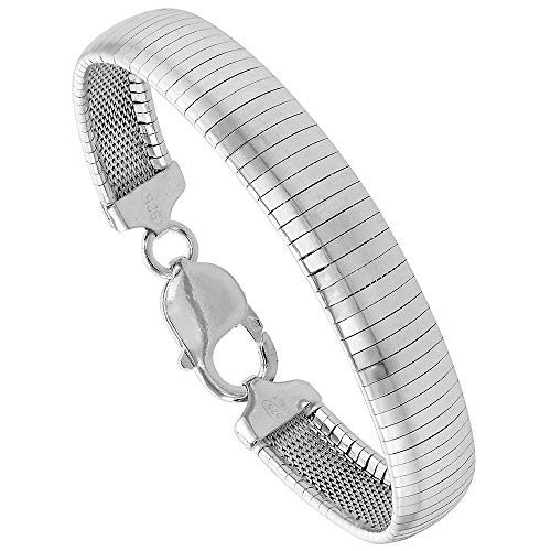 Sterling Silver 10mm Omega Bracelet for Women Nickel Free Italy 3/8 inch Wide, 7 inch