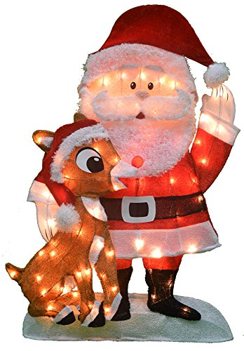 Product Works 20307_L2D Decoration, 70 Lights ProductWorks 32-Inch Pre-Lit Santa and Rudolph Christmas Yard Decorati, Incandescent