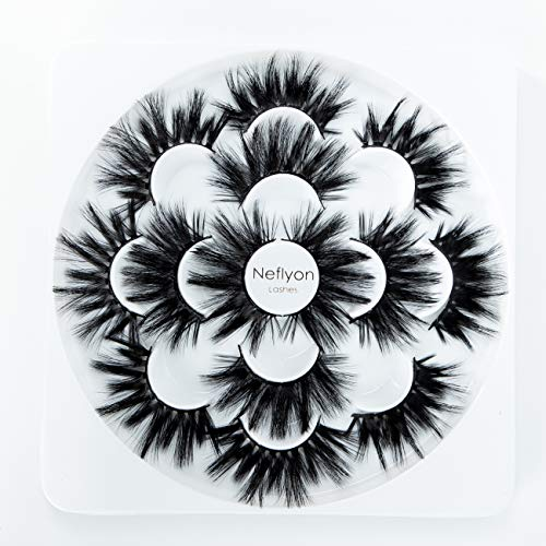 Neflyon Premium Quality 25mm Lashes 3 Different Styles 100% Handmade Long and soft Mink Eyelash 7 Pair Package 5D/4D/3D