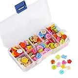 Naler 240 Bottoni Set Bambini, rotondo in plastica colorati con scatola Mixed in diverse forme e colori per cucito fai da te Decorare artigianato