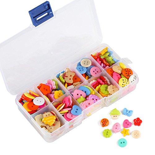 Naler 240 Bunte Knöpfe Set Kinderknöpfe Rund Kunststoff mit Aufbewahrungsbox Mixed in verschiedene Formen und Farben für Nähen Basteln Verzieren Handwerk