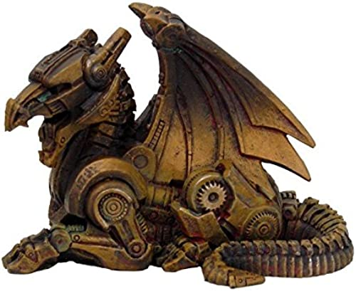 3.5 Inch Steampunk Sitting Winged Dragon Resin Statue Figurine by PTC