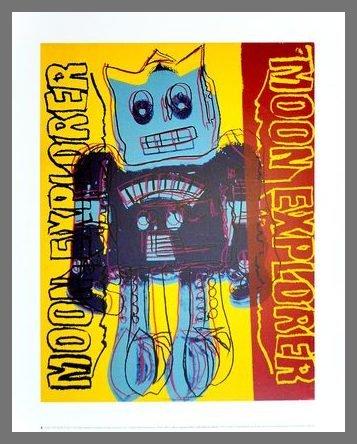 Germanposters Andy Warhol Moon Explorer Robot 1983 Blue & Yellow Poster Kunstdruck Bild im Alu Rahmen Champagne 42x34cm