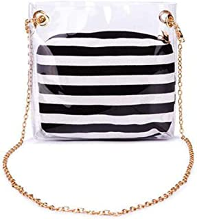 AIEDE 2 in 1Crystal With Black And White Stripe Purse Messenger Bag Crossbody Shoulder Bags For Girls Women