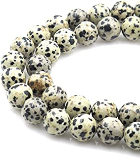 2 Strands Top Quality Natural Dalmatian Jasper Gemstone 8mm Round Loose Gems Stone Beads for Jewelry Craft Making GF17-8