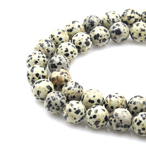 2 Strands Top Quality Natural Dalmatian Jasper Gemstone 8mm Round Loose Stone Beads (~ 88-94pcs total) for Jewelry Craft Making GF17-8