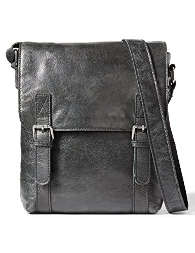 LEATHER ARCHITECT-Men's 100% Leather Cross over Messenger Bag-Black
