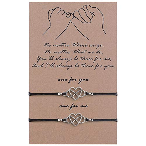 SUNSH 2 Pcs Pinky Promise Heart Infinity Bracelets for Couple Women Girls Teens with Wish Card Adjustable Distance Matching Friendship Bracelet Jewelry Gift Black