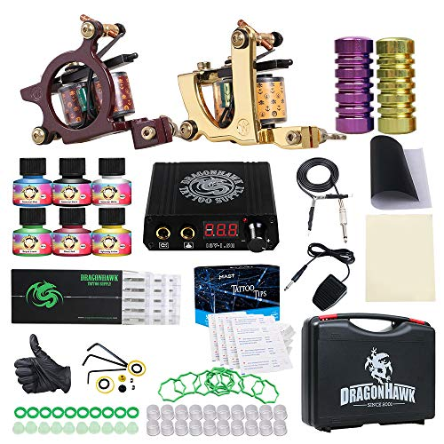 Dragonhawk Tattoo Kit 2 Pro Tattoo Machines Gun Tattoo Power Supply Needles