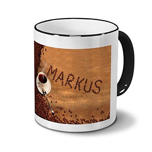 Tasse mit Namen Markus - Motiv Kaffeebohnen - Namenstasse, Kaffeebecher, Mug, Becher, Kaffeetasse - Farbe Schwarz