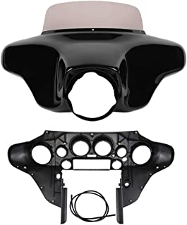 XMT-MOTO Front Outer and Inner Batwing Upper Fairing Cowl w/ 8 inch Windshield Fits for 1996-2013 Harley Davidson Touring Electra Glide, Street Glide and Trike models