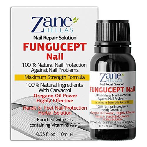 Fungucept Nail.Nagelreparaturlösung für Hände und Füße. Ideal bei entfärbten, dicken und zerfallenen Nägeln. 100% natürlich mit Oreganoöl. 0,33 oz – 10 ml von Zane Hellas