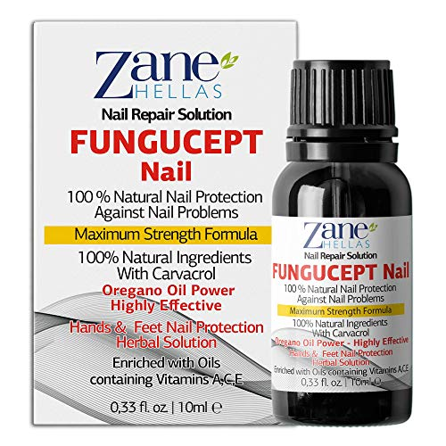 Zane Hellas FunguCept Nail. Fungal Nail Solution. Fungus Nail Solution for Discolored, Thickened, Crumbled and Fungi Nails. Visible Results in 4 Weeks.0.33 oz -10ml