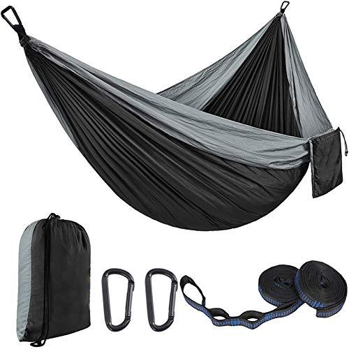 GHYTR Hamaca Camping Hamaca Ligera Portátil Hamaca 300kg Capacidad de Carga Doble Hamaca para Mochilero, Camping, Viajes, Playa, Patio 270x140cm grey-270 * 140cm
