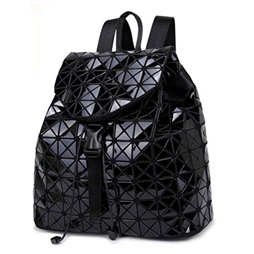 Honeymall Geometrisch Lingge Laser Quadratische Form Sequins Rucksack Daypack Backpacks Freizeitrucksack Schulrucksack Schultasche(Schwarz)