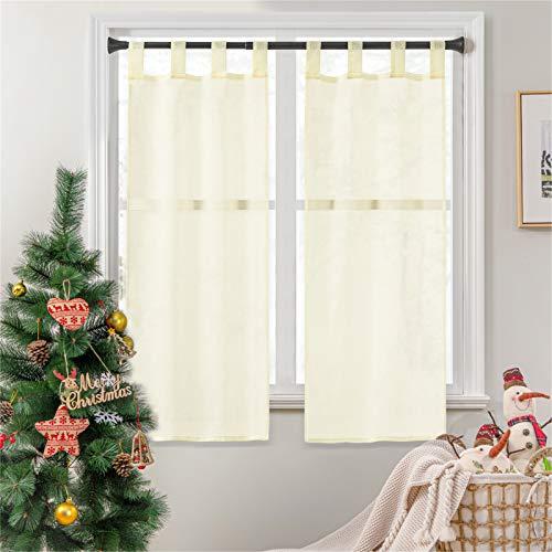 Topfinel 2 Panneaux Noël Rideaux Brise-Bise Jaune-Serin 60x160cm en Polyester Prêt à Poser Voilage Transparents de Fenêtre pour Cuisine Baie Vitrée