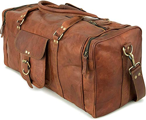 ALASKA EXPORTS'Harvey' Genuine Leather Holdall Duffel Gym Weekender Luggage Travel Shoulder Vintage Bag Unisex Brown (28'')