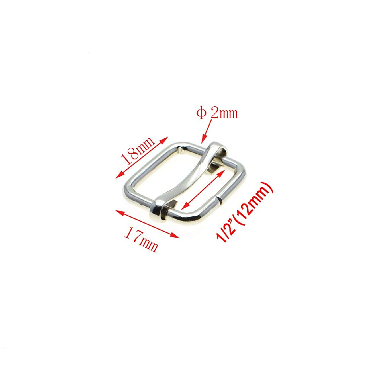 Metal Slides Tri-Glides Wire-Formed Roller Pin Buckles Strap Slider Adjuster Buckles (1/2