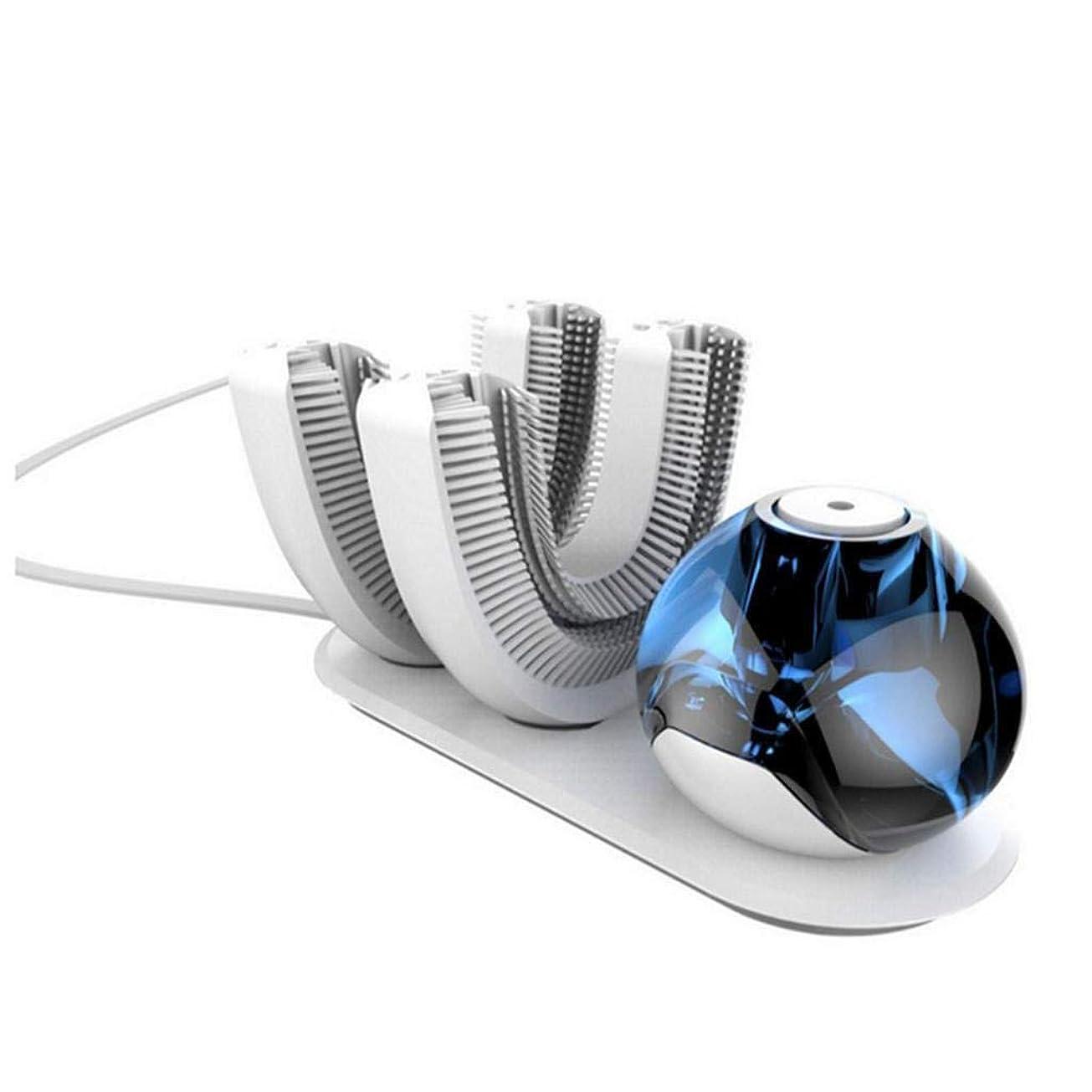お手入れロバ地図HETAO クリエイティブ自動歯ブラシ、怠惰な、自動歯ブラシ電動歯ブラシワイヤレス充電式360°、歯ブラシヘッドのうちの2つは、白歯ブラシの歯に設計されています 白