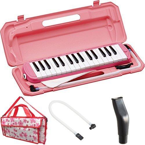 KC 鍵盤ハーモニカ (メロディーピアノ) ピンク P3001-32K/PK + 専用バッグ[Girly Flower] + 予備ホース + 予備吹き口 セット