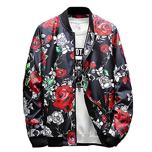 Nutriangee Men's Rose Floral Bomber Jacket Casual Windbreaker Lightweight Zip Up Flower Print Coat Red X-Large