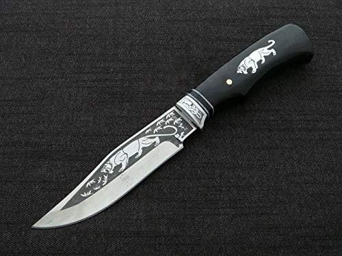 KOSxBO® großes Messer mit Scheide - Messer schwarz mit Panther Motiv - Klinge feststehend 13 cm - Hiking Knife - Bowie Messer - Survival Messer - edles XXL Messer