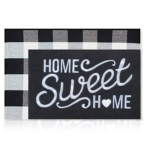 Juego de 2 felpudos bordados de tela para puerta de bienvenida al aire última intervensión de 45,7 x 71 cm con respaldo de goma antideslizante + alfombra de cuadros de búfalo de 61 x 129,5 cm para capas, decorativas, fáciles de limpiar