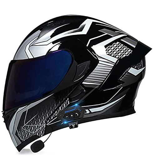 NS Casco Moto Bluetooth Flip Motocross Casco Integral para Adultos Hombres Mujeres con Visera Doble Antivaho Moto Walkie Integrado Modular Casco Locomotora (Color : Y, Size : 2XL)