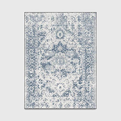 Area Rug Retro Europäischer Neoklassizistischer Retro Blue Shaggy Teppich Für Baby/Haustierzimmer/Schlafzimmer/Wohnzimmer (150 * 200Cm),40 * 120cm