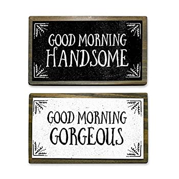 ANVEVO Good Morning Handsome Good Morning Gorgeous - Two 6  Handmade Rustic Couple Metal Wood Signs – Cute Rustic Wall Decor Art - Farmhouse Decorations – Couple Bathroom Signs