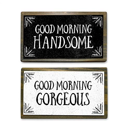 ANVEVO Good Morning Handsome, Good Morning Gorgeous - Two 6' Handmade Rustic Couple Metal Wood Signs – Cute Rustic Wall Decor Art - Farmhouse Decorations – Couple Bathroom Signs
