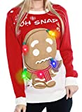 GreaSmart Light Up Women's Christmas Sweater, 3D Gingerbread Man Ugly Sweater Knit Holiday Funny Sweatshirt
