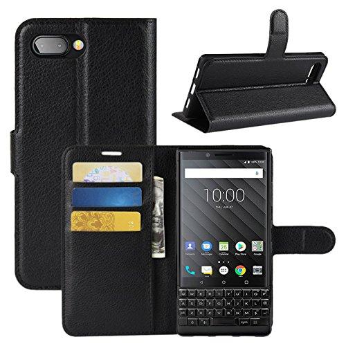 HualuBro BlackBerry KEY2 Hülle, Premium PU Leder Leather Wallet HandyHülle Tasche Schutzhülle Flip Hülle Cover mit Karten Slot für BlackBerry Key 2 Smartphone (Schwarz)