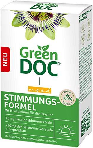 GreenDoc Stimmungsformel Kapseln, Nahrungsergänzungsmittel mit L-Tryptophan bei Stress, Nervosität und innerer Unruhe, mit B-Vitaminen und Magnesium, enthält 40 mg Passionsblumenextrakt, 30 Kapseln