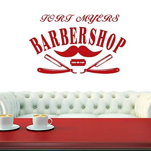 Barbershop Aufkleber Gegrillte Brot Aufkleber Haarschnitt Rasiermesser Poster Vinyl Wandkunst Aufkleber Dekoration 29X58Cm