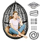 Greenstell Hammock Chair with Hanging Kits, Cushion & Pillow, Egg Large Rattan Wicker Swing Hanging Chair, Multifunctional Swing Chairs for Indoor, Outdoor, Patio, Garden (Black Chair+Brown Cushion)
