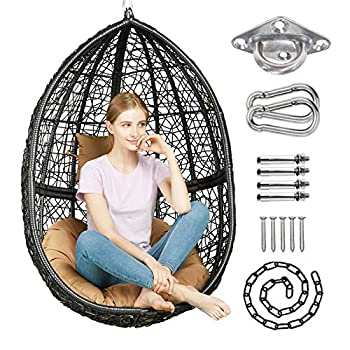 Greenstell Hammock Chair with Hanging Kits Cushion & Pillow Egg Large Rattan Wicker Swing Hanging Chair Multifunctional Swing Chairs for Indoor Outdoor Patio Garden  Black Chair+Brown Cushion