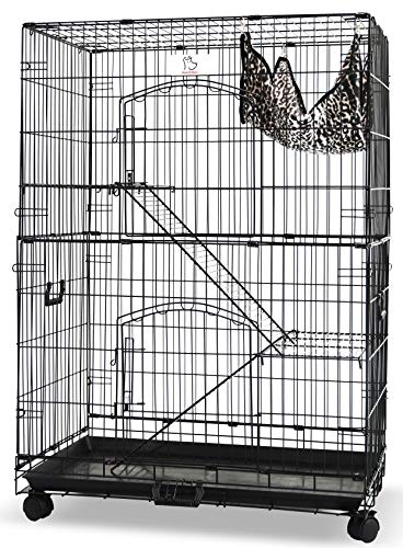 HOMEY PET INC 30' Folding Wire Cat Ferret Habitat Crate with Casters,Tray and Hammock L36 x W23 x H51