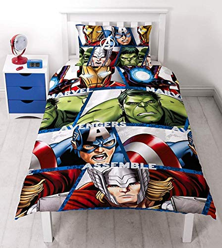 Character World - Set Copripiumino, Letto Singolo 91 cm, Soggetto: Disney Marvel Avengers Shield, Multicolore