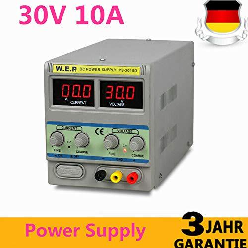 YUNRUX - Fuente de alimentación para laboratorio (regulable, 0-30 V, 0-10 A, con indicador digital)