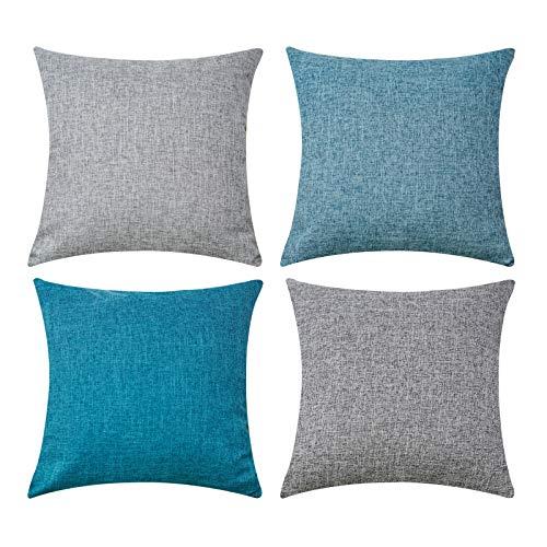 Sunlit Juego de 4 fundas de almohada de 45 cm, color verde azulado y gris, funda de cojín de poliéster suave, cuadrada, decorativa, para sala de estar, sofá, cama, fundas de almohada de 18 pulgadas