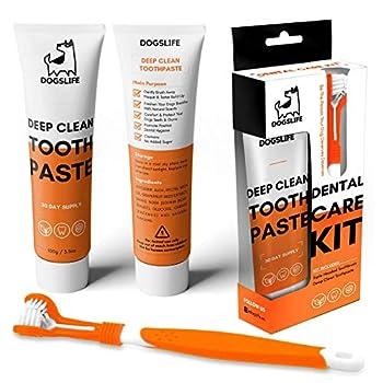 DogsLife Brosse à Dents pour Chien avec Dentifrice | Kit Dentaire pour Chien approuvé | Brosse à Dents Triple tête de Nettoyage en Profondeur pour Chiens + Dentifrice 100% Naturel